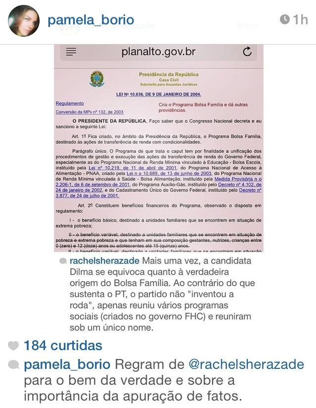 Pâmela Bório - Nas mídias sociais: Primeira dama repercute crítica a presidente Dilma Rousseff