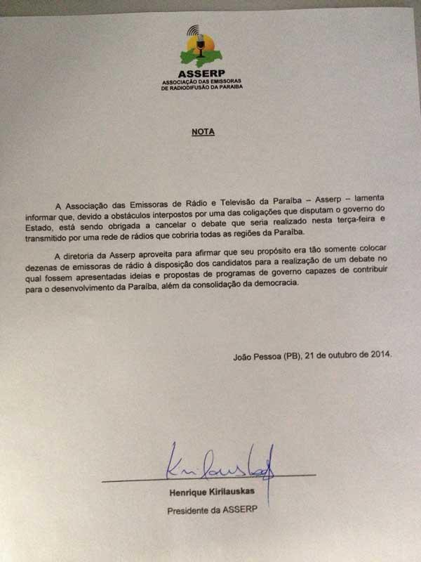 nota asserp - Debate entre candidatos ao governo do Estado nas emissoras de rádio é cancelado