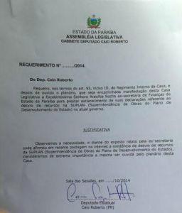 requerimento 256x300 - VEJA DOCUMENTO: Deputado convoca Aracilba para prestar esclarecimentos sobre desvio de dinheiro na Suplan