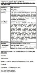 despachoRC 153x300 - Audiência de ação que pede cassação de Ricardo Coutinho será no próximo dia 28