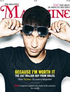 """neymar the time jpg tratada 230x300 - Neymar seduz imprensa internacional e é capa da """"The Times"""" desta semana"""