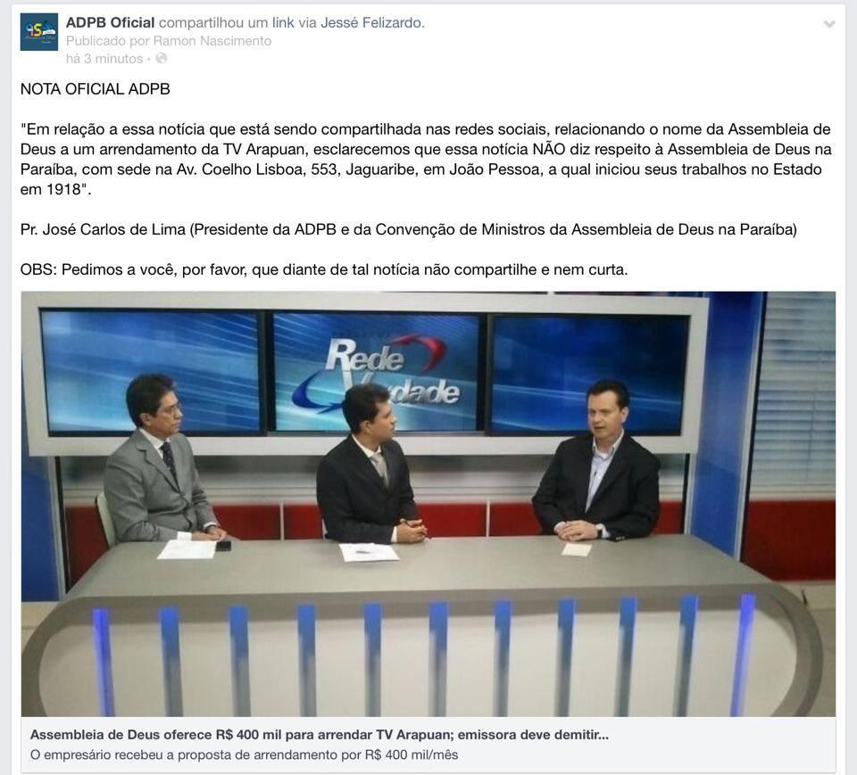 nota assembleia - Em nota: Assembleia de Deus nega proposta de arrendamento da TV Arapuan