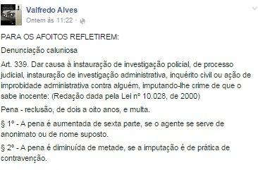 promotor calunia - Caso do Campestre: Promotor dá sua versão da discussão através de publicações nas mídias sociais