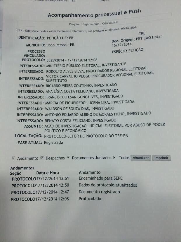 acompanhamento processual - MPF pede cassação de Ricardo Coutinho por abuso de poder político-econômico