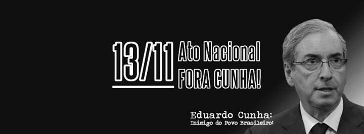 Partidos de esquerda e movimentos sociais realizam #ForaCunha na sexta-feira 13