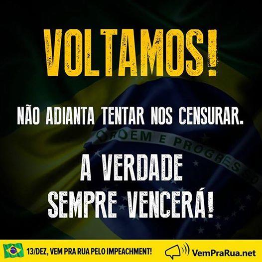 Facebook tira do ar por quatro horas página de grupo anti-Dilma