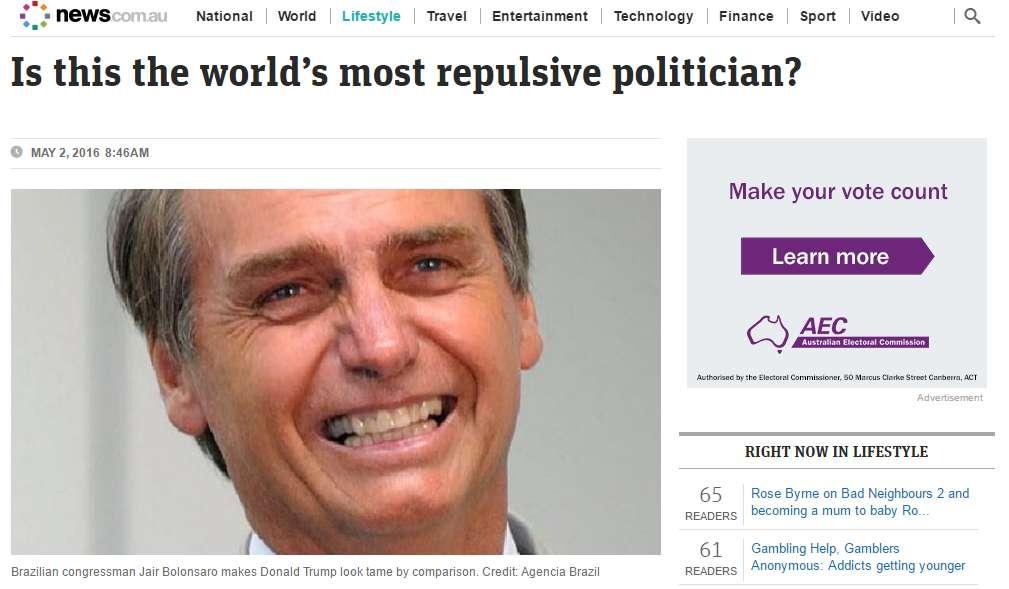 Bolsonaro é o 'político mais repulsivo do mundo', diz site australiano
