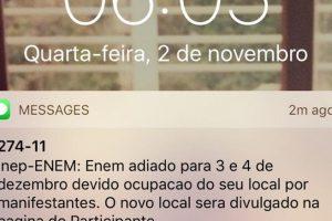 Avisos de adiamento do Enem começam a ser recebidos