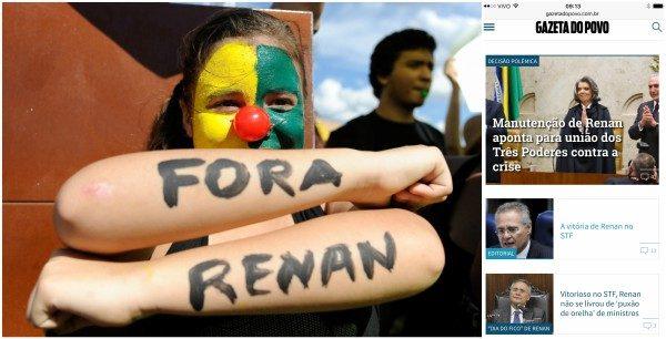 """O FICA RENAN FOI ACORDÃO DOS 3 PODERES: A grande mídia """"traiu"""" os coxinhas que foram as ruas no domingo passado"""