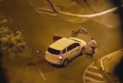 NOITE DE FÚRIA: Taxista é flagrado atropelando e atirando em ciclista
