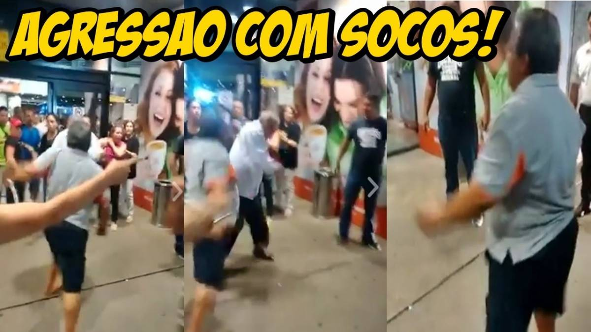 VEJA O VÍDEO: Funcionário de Aníbal Gomes agride a socos manifestantes em aeroporto de Fortaleza