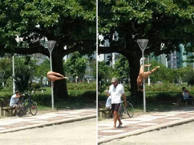 VEJA VÍDEO: mulher pratica pole dance em praia e chama atenção de banhistas