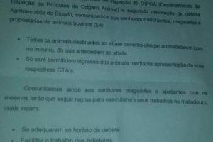 Secretaria de Agricultura emitiu comunicado com regulamentação do Matadouro Municipal de São Bento