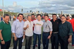 Galdino, Veneziano e Santiago posam juntos em inauguração de Parque em Campina Grande