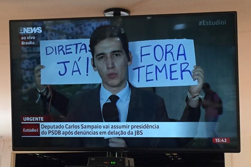 """diretas 1 - EFEITO JBS: Mais uma vez, repórter é """"trollado"""" durante transmissão"""