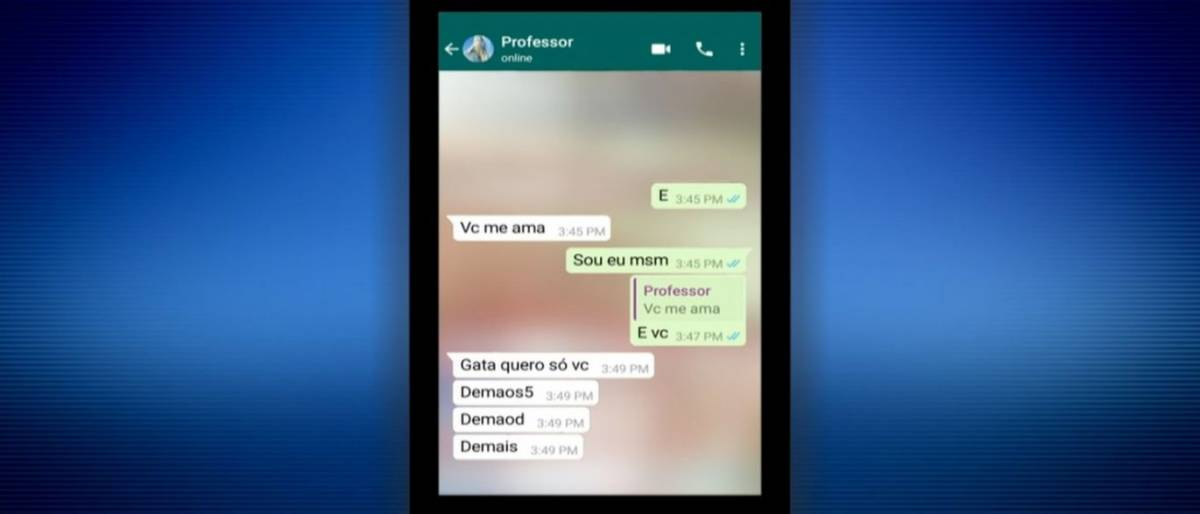 Professor manda mensagens com teor sexual para aluna de 10 anos