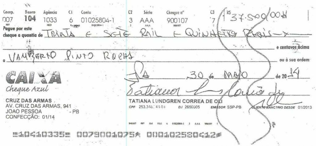 cheque 1 - Grupo liderado por Tatiana Lundgren comprou R$ 238 mil em joias com cheques sem fundo
