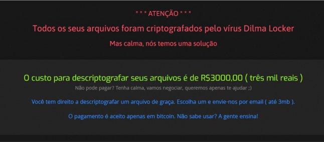 dilma locker - Vírus brasileiro chamado 'Dilma Locker' pede resgate de R$ 3 mil