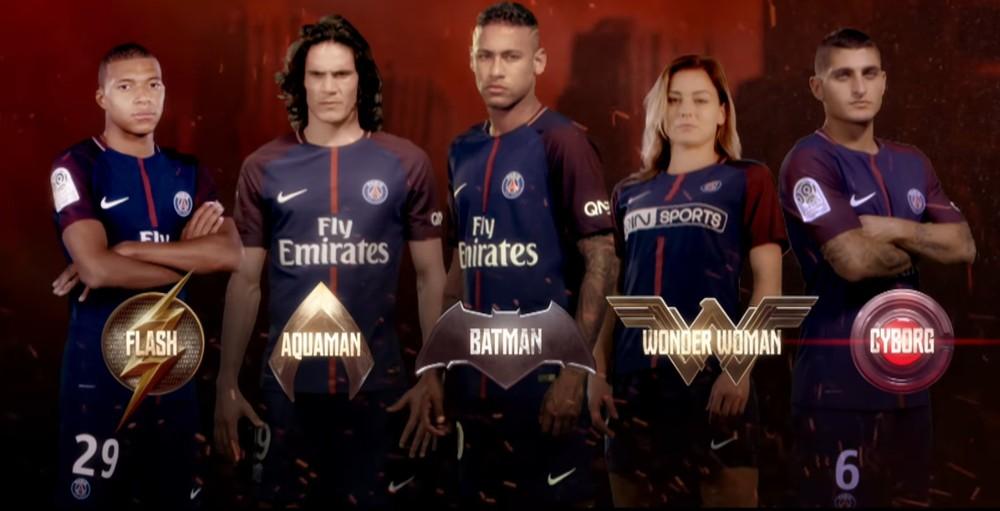 Neymar e outros craques do PSG aparecem em trailer com heróis de Liga da Justiça