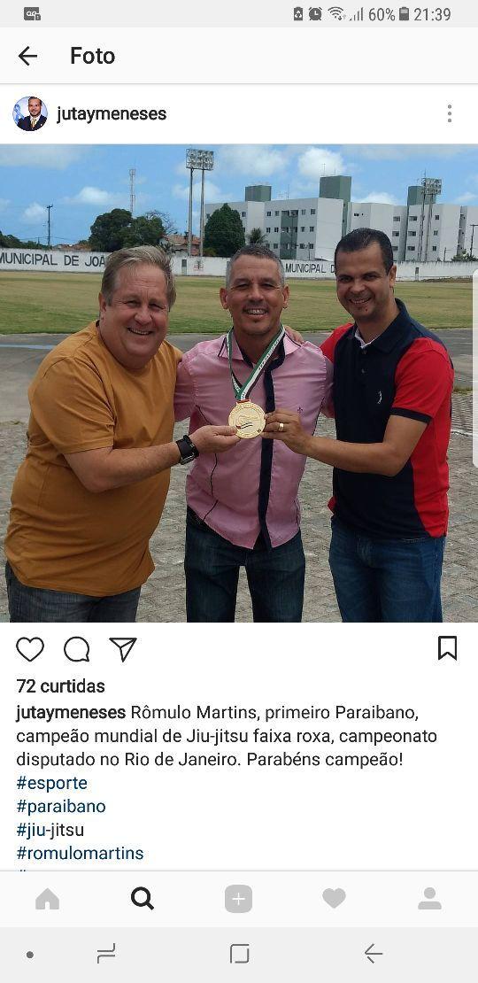 rede - NINJA NA REDE: ao lado de adjunto, secretário de Esportes Jutay Menezes parabeniza paraibano campeão mundial de Jiu-Jitsu
