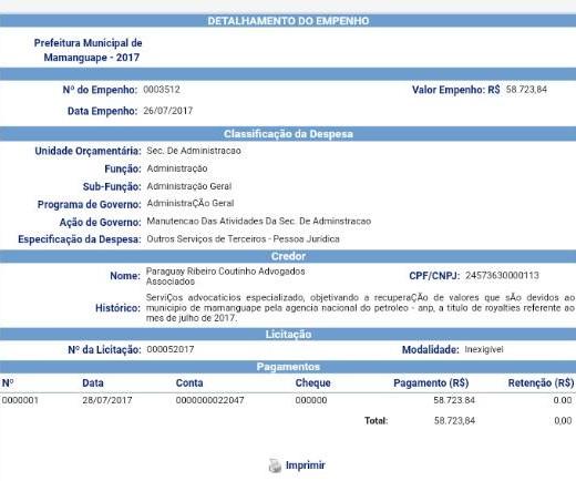 60bfc4b6 958f 4a80 96c8 d6d866d72606 - FALTOU COMPROVAÇÃO DE NECESSIDADE: TCE suspende pagamento de Mamanguape feito a escritório de advocacia