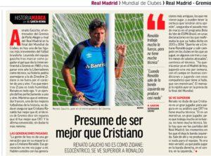 renato jornal 300x222 - Jornal diz que Renato é egocêntrico e que Real joga para ter mais Mundiais que Brasil