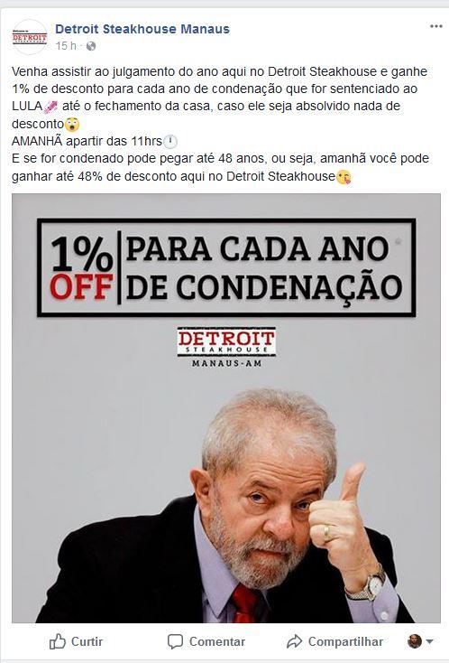 Screenshot 927 - Restaurante dá 1% de desconto para cada ano de condenação do Lula