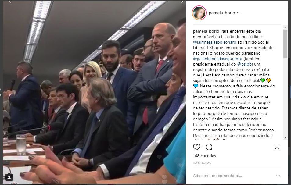 Ex Primeira Dama da PB comemora filiação de Bolsonaro no PSL - image pamela-insta on https://antv.news