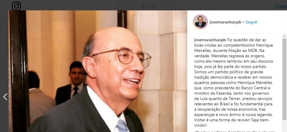 d380a5e3aac09ee2924adacd25585468 - Maranhão ressalta filiação de Meirelles: 'traz esperanças e novo ânimo à nossa legenda'