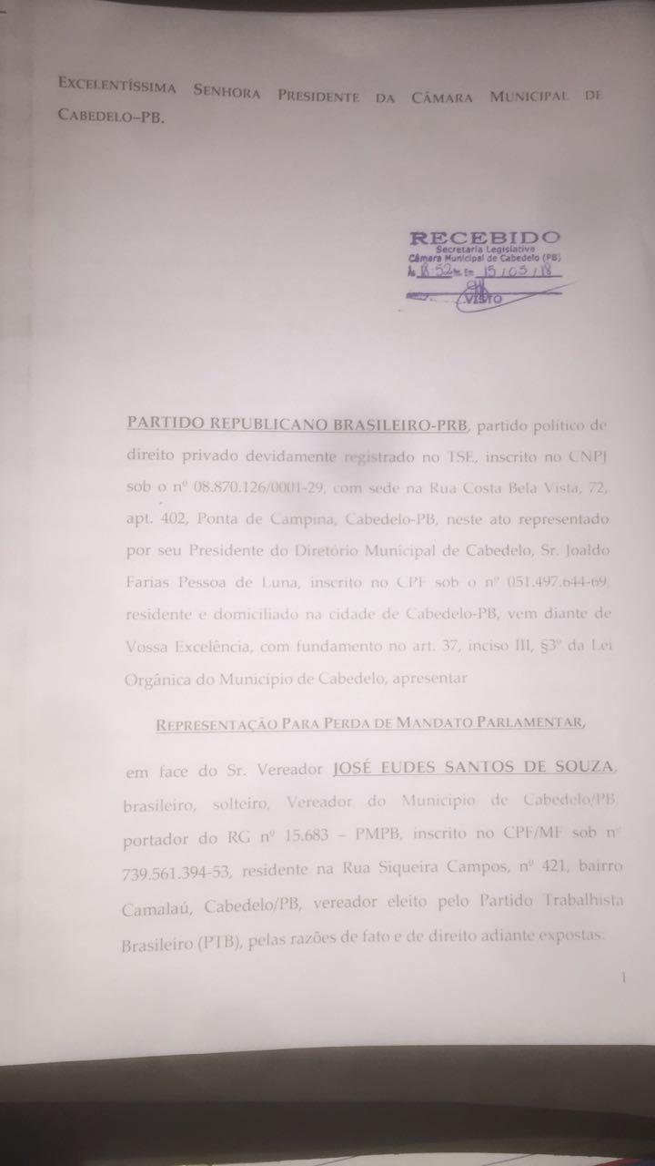 IMG 20180515 WA0134 - Câmara Municipal de Cabedelo recebe pedido de cassação de vereador
