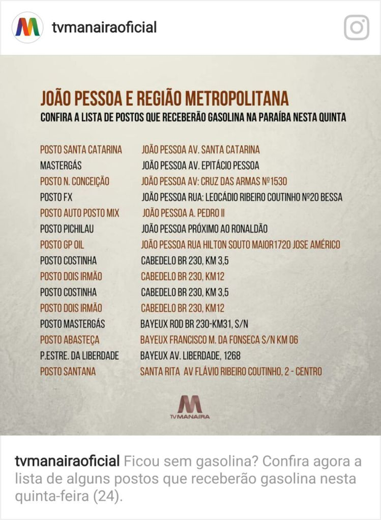 Lista postos com gasolina - Quinze postos ainda têm gasolina na Grande João Pessoa