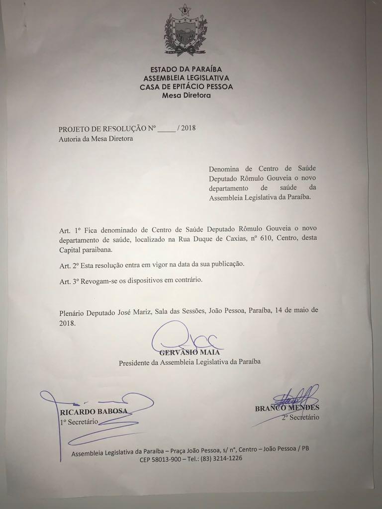 WhatsApp Image 2018 05 14 at 21.04.08 - Novo Centro de Saúde da ALPB vai se chamar Rômulo Gouveia