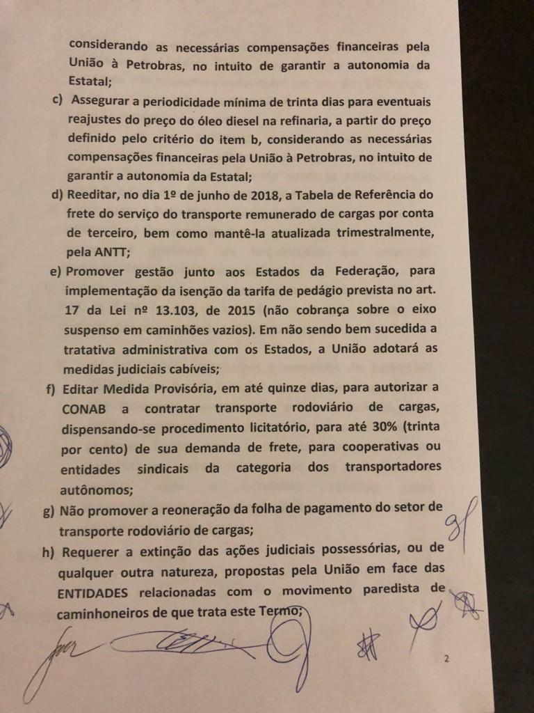 WhatsApp Image 2018 05 24 at 22.19.09 1 - GREVE NO BRASIL: Governo e caminhoneiros anunciam proposta de acordo; veja o documento