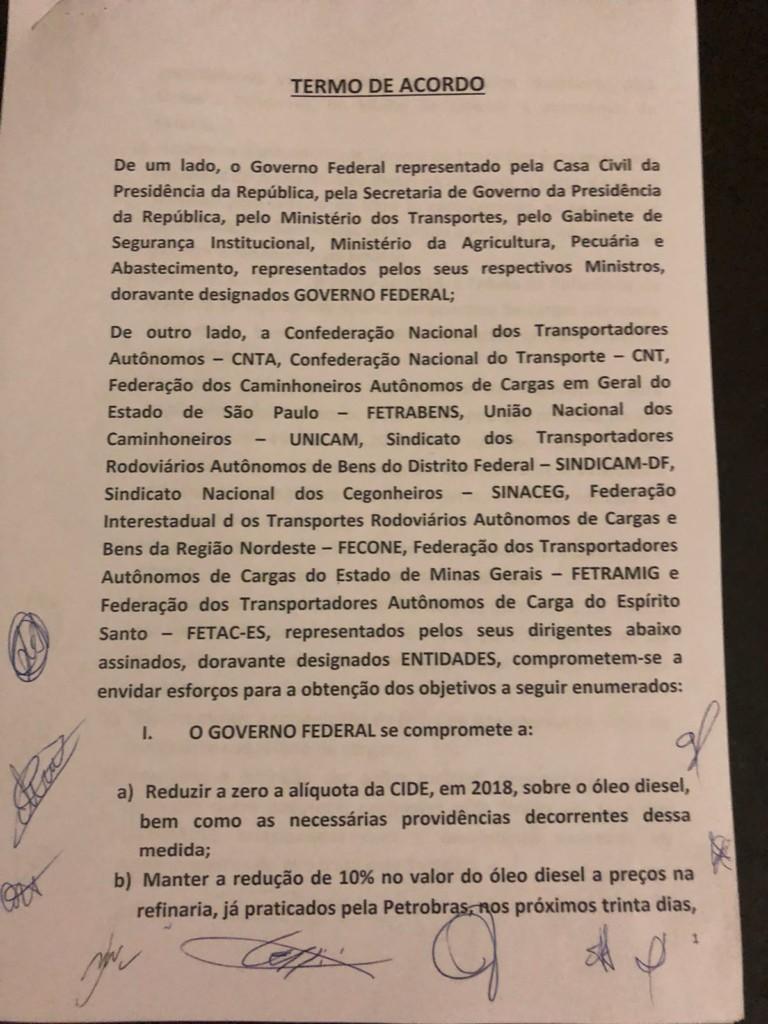 WhatsApp Image 2018 05 24 at 22.19.09 - GREVE NO BRASIL: Governo e caminhoneiros anunciam proposta de acordo; veja o documento