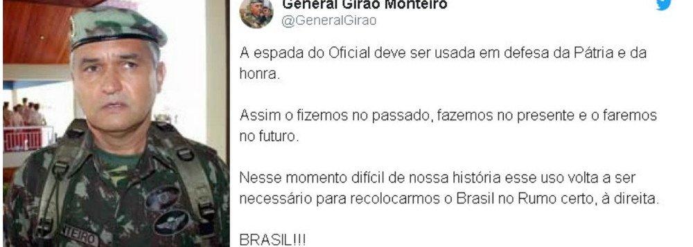 intervenção - INTERVENÇÃO? General de reserva diz que Exército usará a 'espada' para defender a honra do Brasil