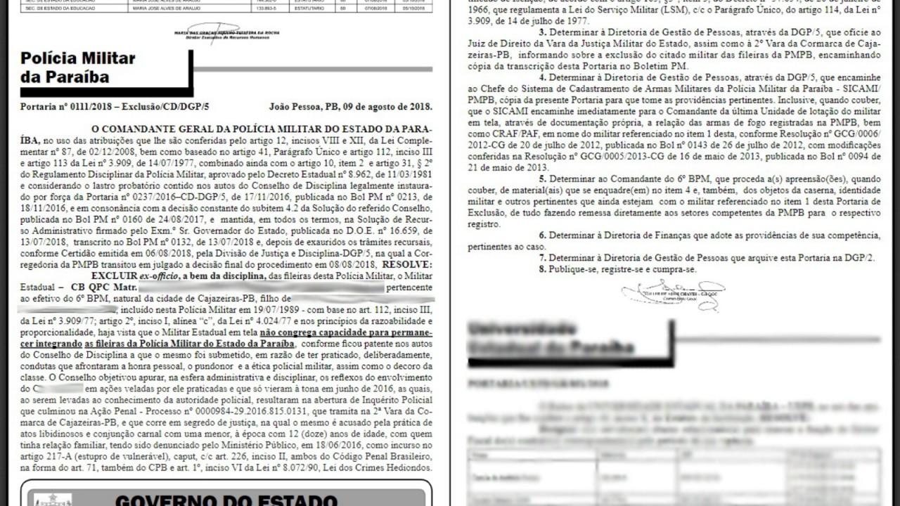 cabo expulso pb 1 - Adolescente nega ter sido abusada pelo padrasto expulso da PM em Cajazeiras e diz que mentiu por influência