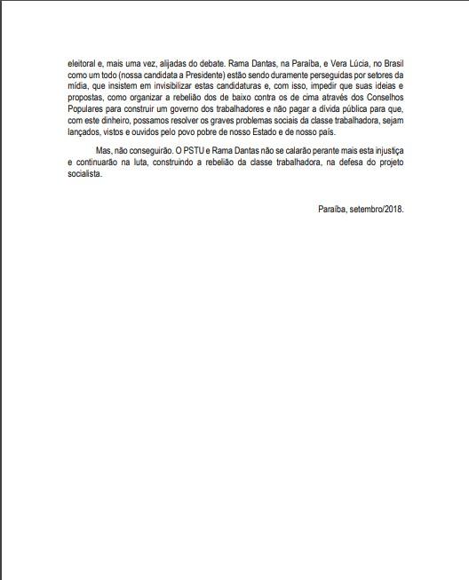 Nota pstu 3 - PSTU lança nota de repúdio pela exclusão de Rama Dantas no debate na Arapuan