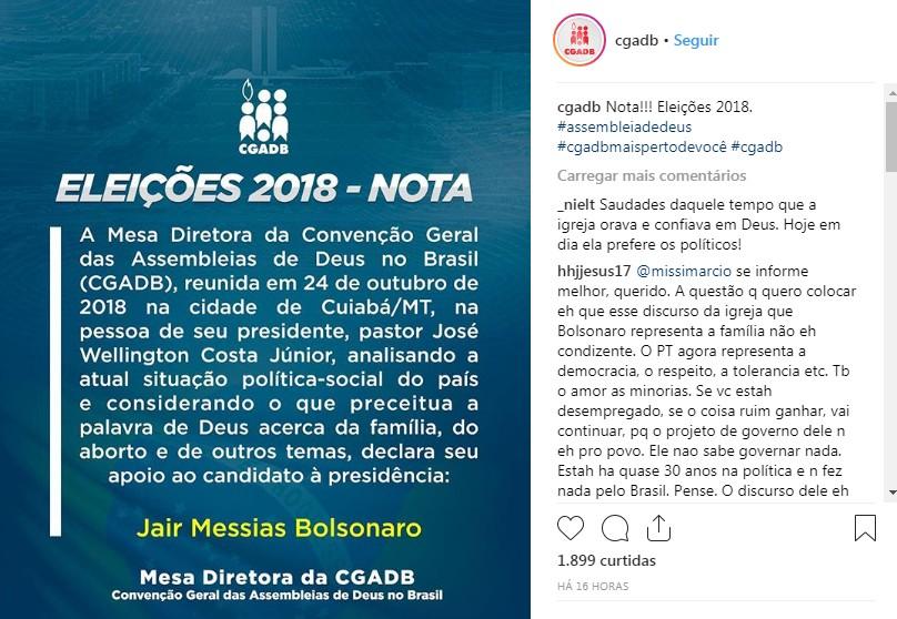 CGADB - VEJA VÍDEO: Convenção Geral das Assembleias de Deus no Brasil oficializa apoio à candidatura de Jair Bolsonaro