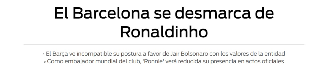 barcelona sport bolsonaro - Ronaldinho Gaúcho e Rivaldo podem ser punidos pelo Barcelona por apoio a Bolsonaro