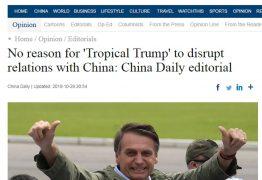 Em editorial, China faz alerta a Bolsonaro sobre riscos de agir como Trump