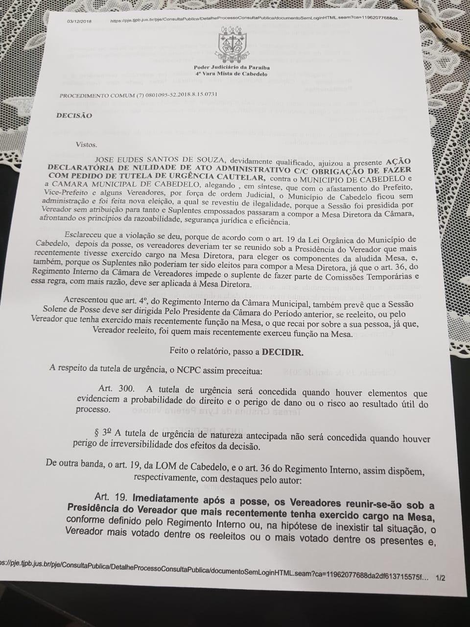 imagem 3 - 'FAZ QUASE UM ANO': Vereador reclama de morosidade de juíza em relação a irregularidades na eleição de Vitor Hugo