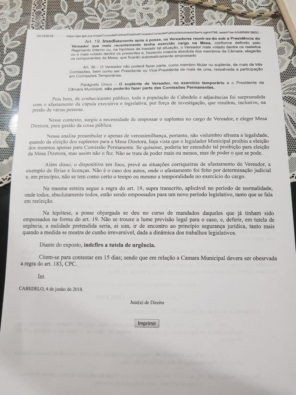 imagem 4 - 'FAZ QUASE UM ANO': Vereador reclama de morosidade de juíza em relação a irregularidades na eleição de Vitor Hugo