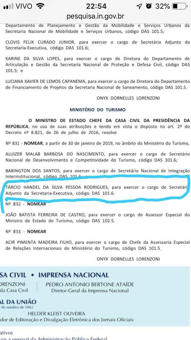 WhatsApp Image 2019 01 26 at 10.03.50 - A FORÇA DE JULIAN: Paraibano Tárcio Pessoa é nomeado para secretaria no Governo Bolsonaro