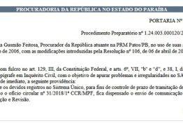INQUÉRITO CIVIL: MPF investiga irregularidades no funcionamento do Samu de Patos