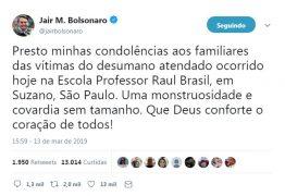'MONSTRUOSIDADE E COVARDIA SEM TAMANHO': presidente Jair Bolsonaro se pronuncia sobre atentado em Suzano