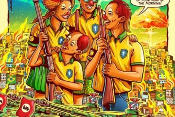 1 deadkennedys poster 10790831 360x240 - CRÍTICA A BOLSONARO: pôster de show de banda americana mostra família de palhaços armados e favela em chamas