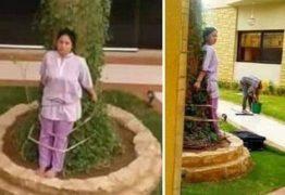 Empregada é amarrada a árvore como punição aplicada pelos patrões