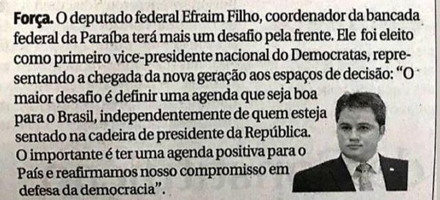 3f0d7f03 10c5 4c65 854a 88594c3be995 - A INDEPENDÊNCIA DO DEM: 'O importante é termos uma agenda positiva para o Brasil', diz Efraim Filho
