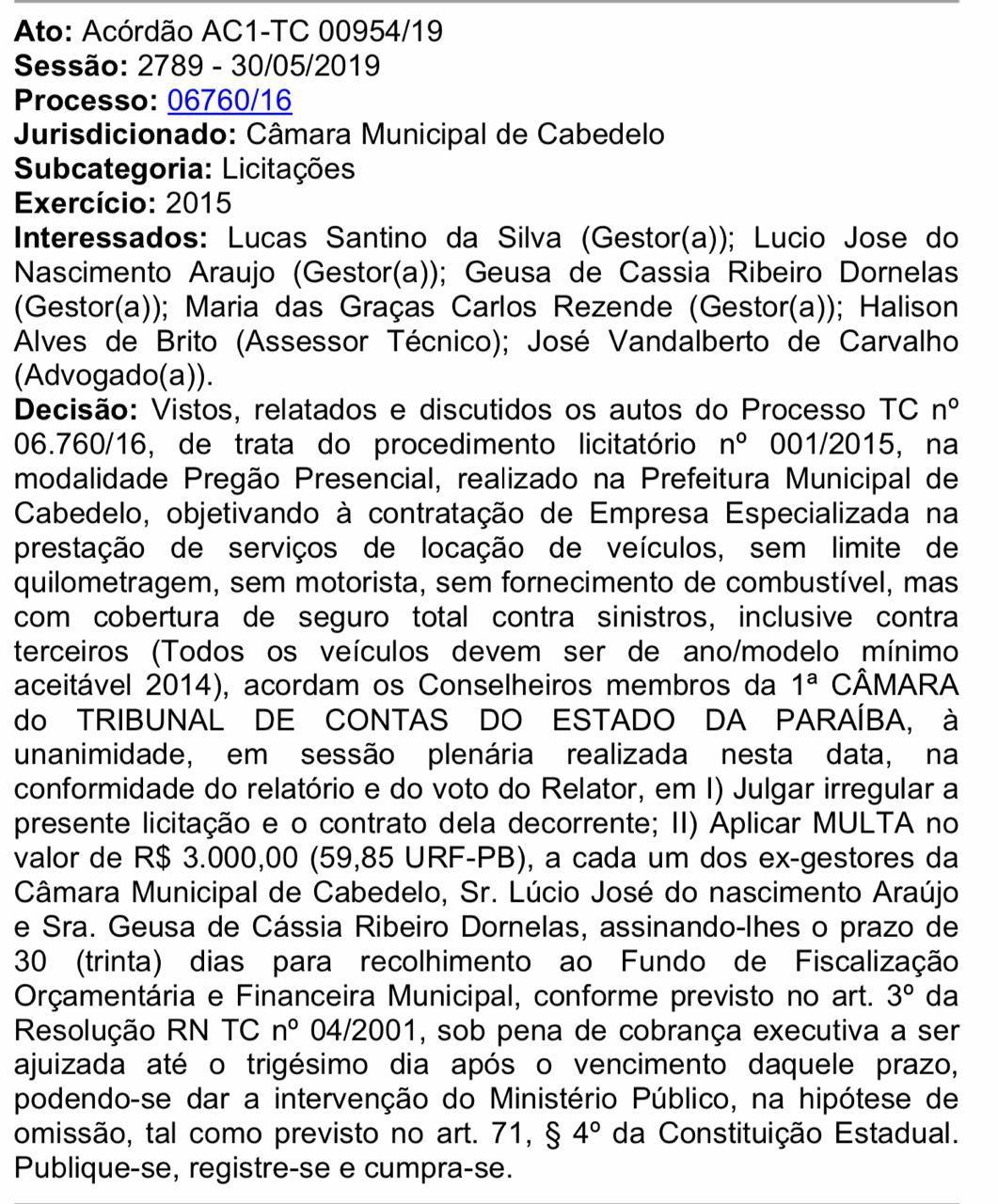 a61a1c0d 393a 4cbf aa9b 49ea335e2e33 - IRREGULARIDADES: TCE-PB encontra erros em licitação para locação de veículos em Cabedelo e multa ex-gestores da Câmara Municipal
