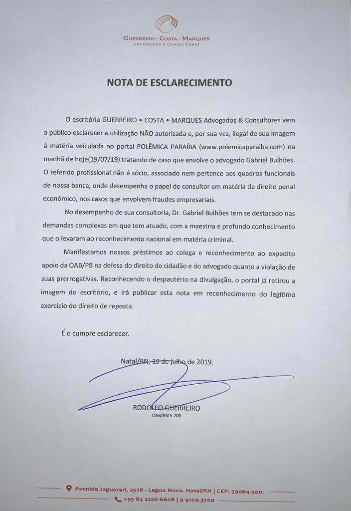NOTA DE ESCLARECIMENTO E DIREITO DE RESPOSTA GCM POLEMICA PB - Policia Rodoviária Federal da Paraíba prende advogado do Rio Grande do Norte por desacato a autoridade
